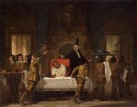 scene fra én af francois rabelais' fem boger by auguste barthelemy glaize