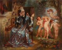 vieille femme regardant une groupe d'amours by andré charles voillemot