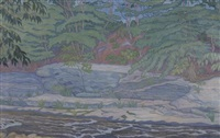 landscape with rushing river by chester leich