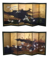egrets and reeds (pair) by japanese school-meiji (19)
