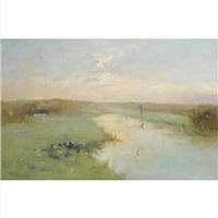 a fisherman in a polder landscape by jacob ritsema