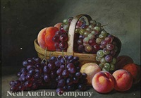 basket of grapes and peaches by peter baumgras