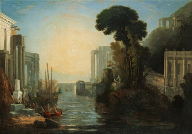 klassicerande hamninlopp med solnedgång by joseph mallord william turner