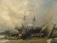 ships beached by a jetty with numerous figures by nicholas edward gabe