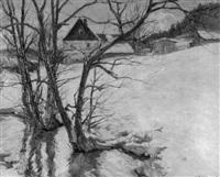 schneelandschaft mit häusern by georg hoehlig