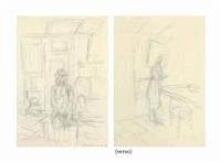 annette à stampa (recto); femme dans un intérieur (verso) by alberto giacometti