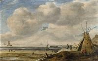 coastal landscape with a tent by hendrick van anthonissen