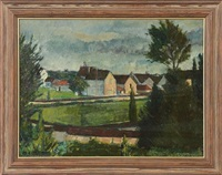 landscape with a village by herrmann lismann