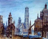 gothic city view by karl von merode