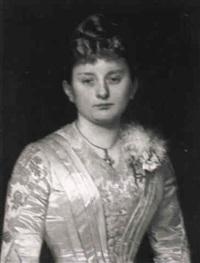 brustporträt einer dame in weißem seidenkleid by hermann clementz