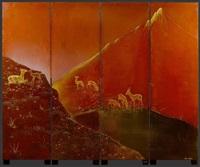 paravent mit dekor von hirschen in einer landschaft by pierre dunand