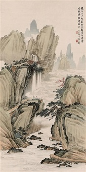 landscape with waterfall by cai gongheng