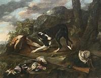 en jagthund vogter over det skudte fuglevildt i et landskab by dirk valkenburg
