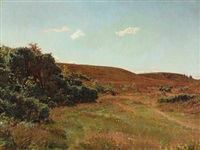 moorlandscape with blooming heather by georg nicolaj achen