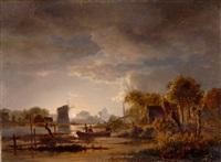 flusslandschaft mit windmühle bei aufgehendem vollmond by jacobus theodorus abels