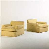 silk upholstered lounge chairs (pair) by avery boardman