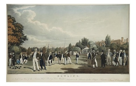 bowling north east view of the sarecens head bowling green worcester aquatint by j gleadah by james clements