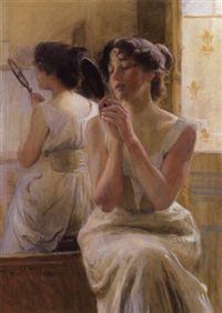 ung pige foran spejlet by christian emil rosenstand