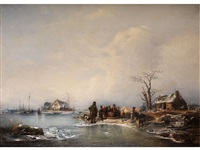 grosse winterlandschaft mit staffagefiguren by joseph jodocus moerenhout