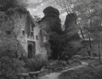 waldlandschaft mit gotischer ruine by louis petit