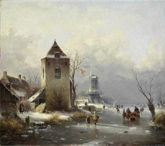 wintertag vor einer stadt mit windmühle und schlittschuhläufern by andreas schelfhout