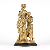 figural group, mother and child by mathurin moreau