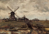 polder landscape with windmill by pieter de regt