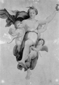 allegorische frauengestalt mit amoretten in den lüften by daniel albert freudweiler