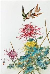 粉彩花鸟瓷板 by deng xiaoyu