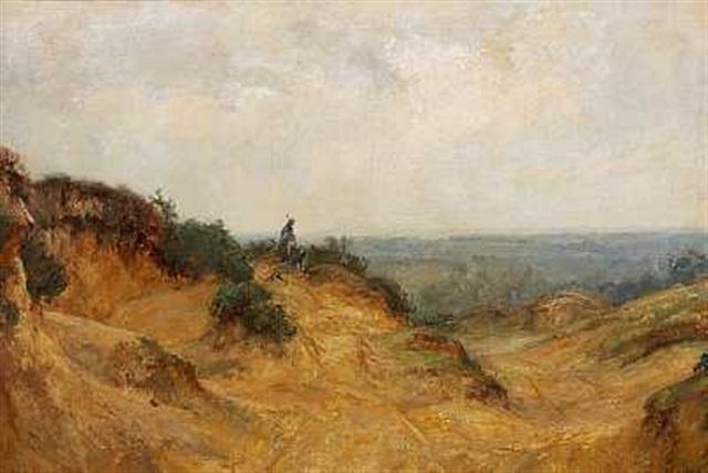 en fårehyrde med sin hund i et bakket landskab by james herbert snell