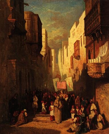prozession in den gassen von la valetta malta by victor nehlig