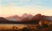 mountainous landscape with deer at the waters edge by robert henry roe