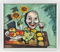 früchtestillleben mit weißer maske by otto beyer