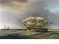 h.m.s. isis in still breeze by william john huggins