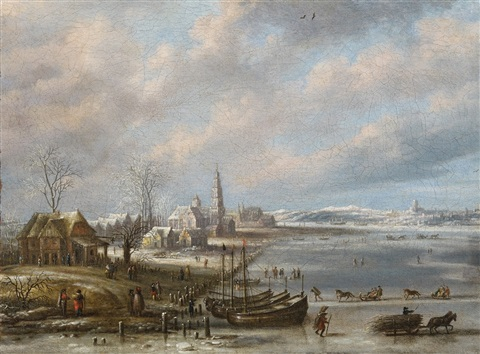 winterlandscape with frozen sea by daniel van heil