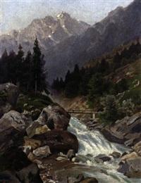 hochgebirgslandschaft mit wildbach an einem prachtvollen sommertag by rudolf böttger