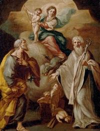 madonna mit dem die schlange tötenden kind zwischen den hl. joseph und nikolaus von bari by domenico antonio vaccaro