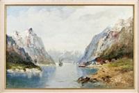 fjordlandschaft mit frachtschiff by karl gross-sattelmair