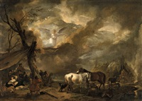landscape with the annunciation to the shepherds by philips wouwerman