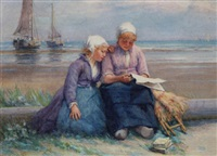 dutch girls reading a letter by the shore by edith hume