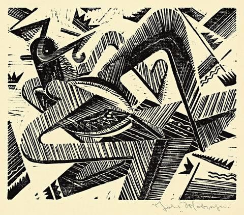 horizontal-vogel-wesen, pl. 3 (from summa summarum) by johannes molzahn