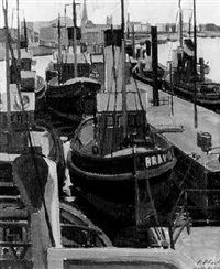 fischerboote im hafen by hermann oberli