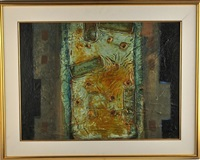 untitled abstraction in yellow, brown, and blue by john richard (jack) reppen