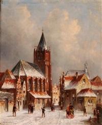 wintertag in einer holländischen stadt by pieter gerardus vertin