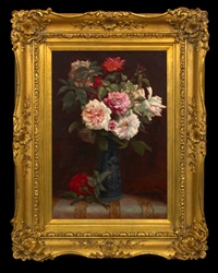 still life with bouquet of roses in a vase by martial hupe