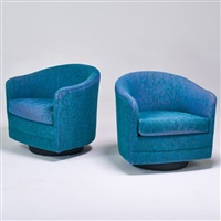 pair of tilt-swivel lounge chairs by milo baughman