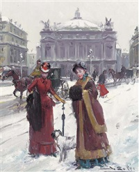 outside the opera house, paris (+ ladies in the snow; pair) by juan puig soler