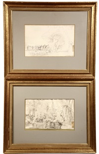landscape drawings (2 works) by isidor marie peyret