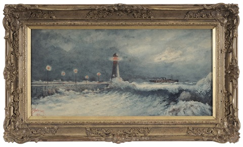 moonlit lighthouse with distant steamer ship by frederick anderson