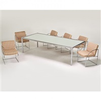 dining set: table and six arm chairs by milo baughman